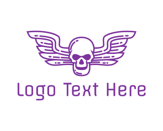 Airforce - Skull Wing Outline logo design