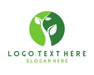 Life - Green Plant Circle logo design