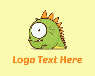 Cute Green Monster logo design