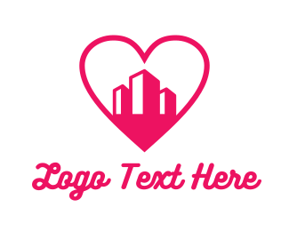 Pink Heart Buildings Logo Maker