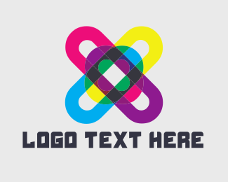 Letter X - Colorful Hashtag logo design