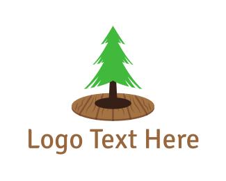 Wooden - Pine Tree  logo design