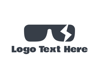 Hipster - Black Sunglasses Lightning Bolt logo design