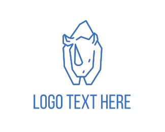 Big - Blue Line Rhino logo design