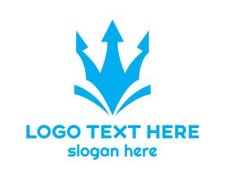 God - Blue Abstract Trident  logo design