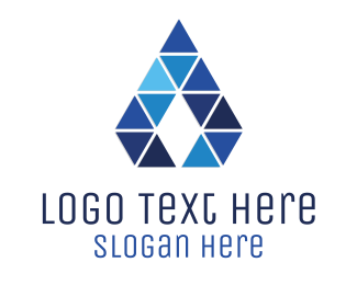 Studio - Blue Triangle Letter A logo design