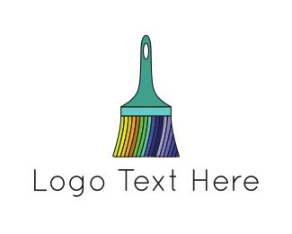 Tradesman - Rainbow Brush logo design