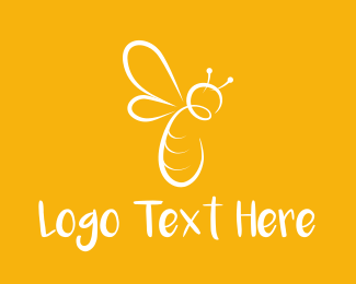 Honey - White Bee logo design