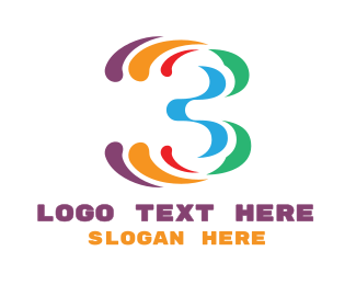 Paint - Colorful Number 3 logo design