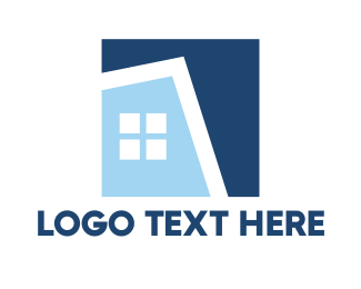 Neighborhood - Blue Square House logo design