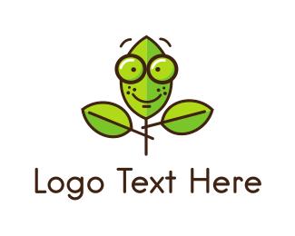 Cute Nerd Plant Logo