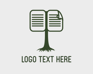 Library - Green Tree Book logo design