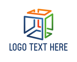 Removalist - Colorful Cube Lines logo design