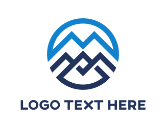 Snow - Blue Mountain Circle Outline logo design