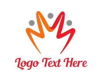 Ruler - Orange Yellow Crown Stroke logo design