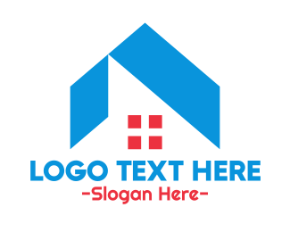 Roof - Blue Roof & Red Window logo design