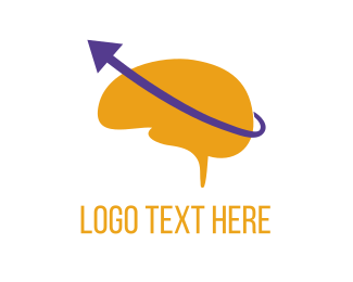 Education - Brain & Purple Arrow logo design