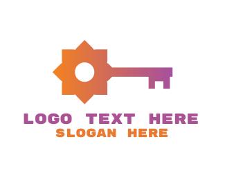 Locksmith - Flower Key  logo design