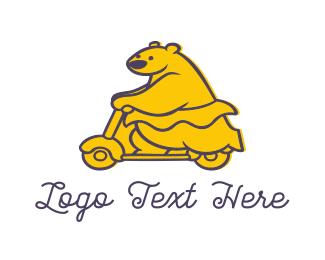Vespa - Bear Biker logo design