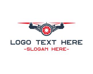 Drone - Red Drone Shutter logo design