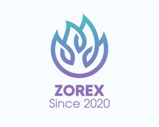 Gradient Gradient Blue Flame Outline logo design