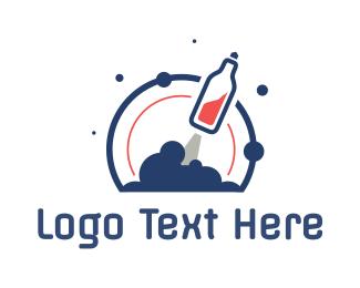 Booze - Soda Bottle Rocket logo design