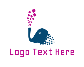 Database - Pixel Elephant logo design