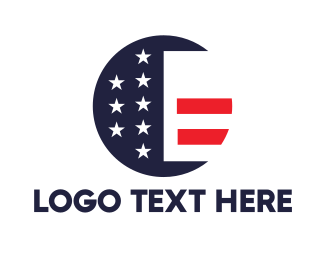 Patch - Round American Flag logo design