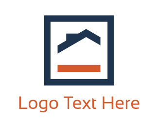Home Decor - Orange & Blue House logo design