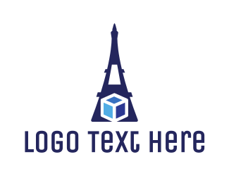 Paris - Eiffel Cube logo design
