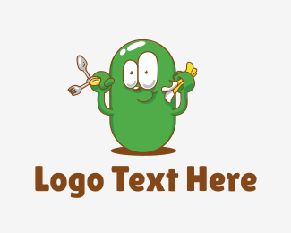 Veggie - Green Bean Cartoon logo design