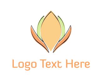 Lady - Orange & Green Flower logo design