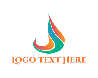 Oil - Flame Letter J logo design