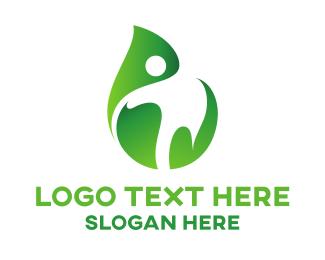 Organization - Human Outline Leaf logo design