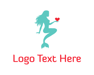 Lovely - Mermaid & Heart logo design