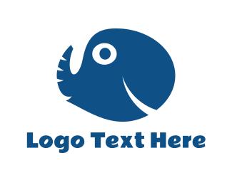 Circus - Elephant & Fish logo design