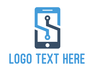 Smartphone - Blue Mobile  logo design