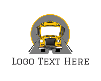 School - School Bus logo design