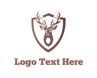 Antlers - Deer Shield logo design