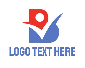 Verify - Red Blue Check B logo design