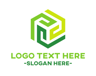 Green Modern Hexagon Logo Maker