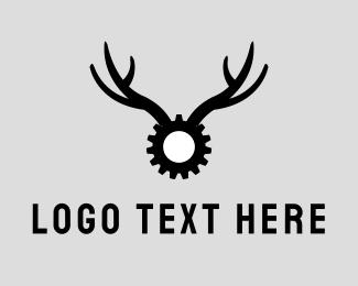 Moose - Gear Antlers logo design