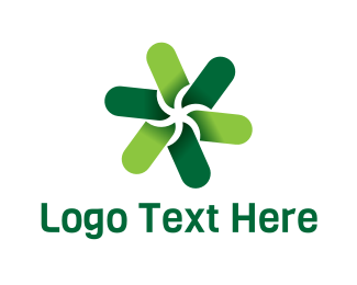 Propeller - Green Flower logo design