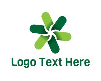 Lawn Care - Green Flower logo design