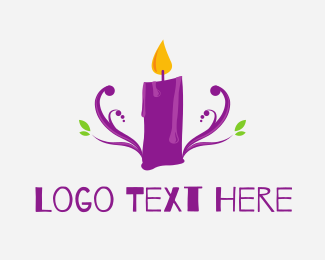 Candle - Purple Candle logo design