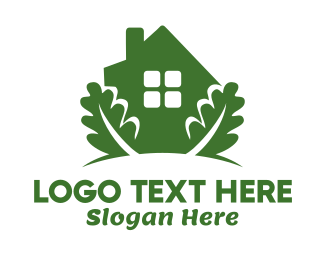 Herbal - Green House & Leaves logo design