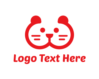 Pet Store - Red Animal Face logo design