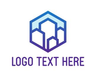 Company - Gradient Hexagon Mountain Buildings logo design