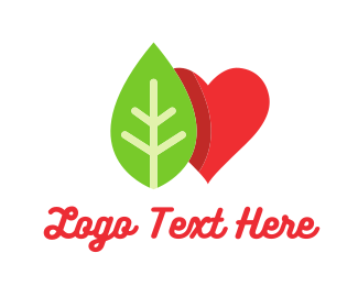 Herbal - Gree Leaf & Red Heart logo design