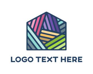 Colorful Mosaic House Logo